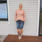 Starting to feel like Fall - Denim skirt and sweater & linkup