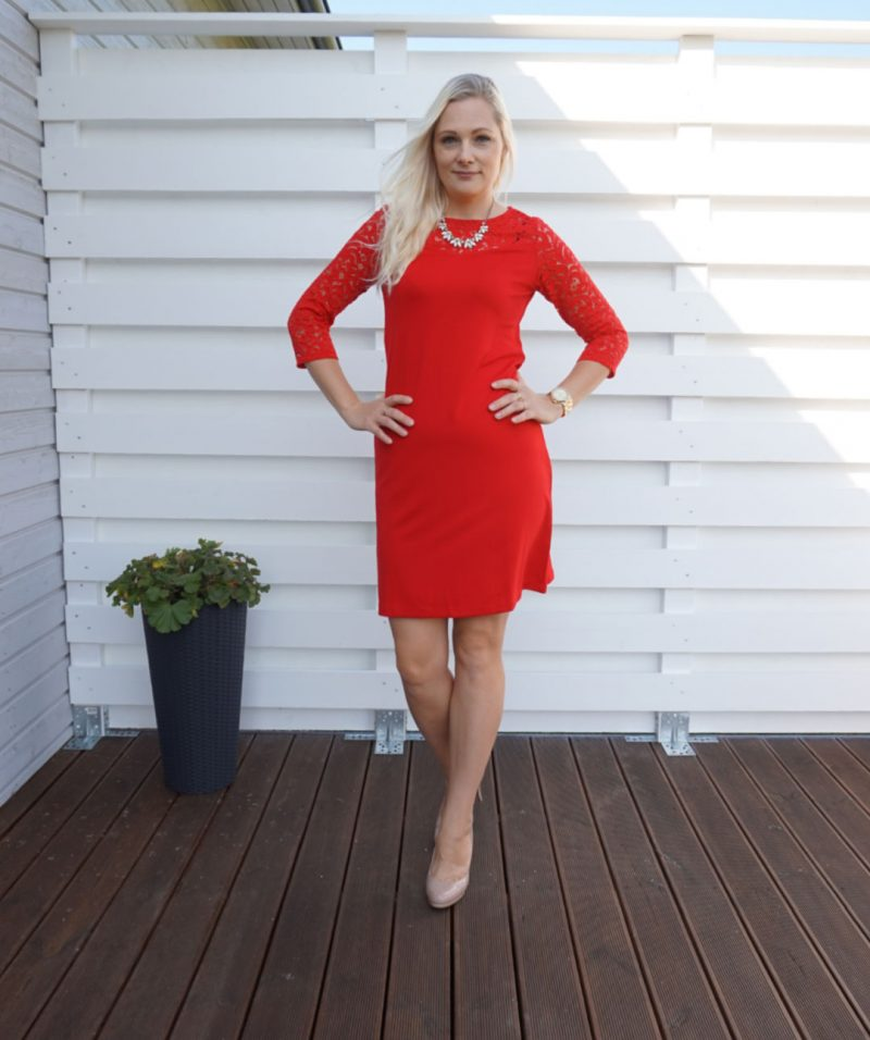 red Lindex dress with lace details