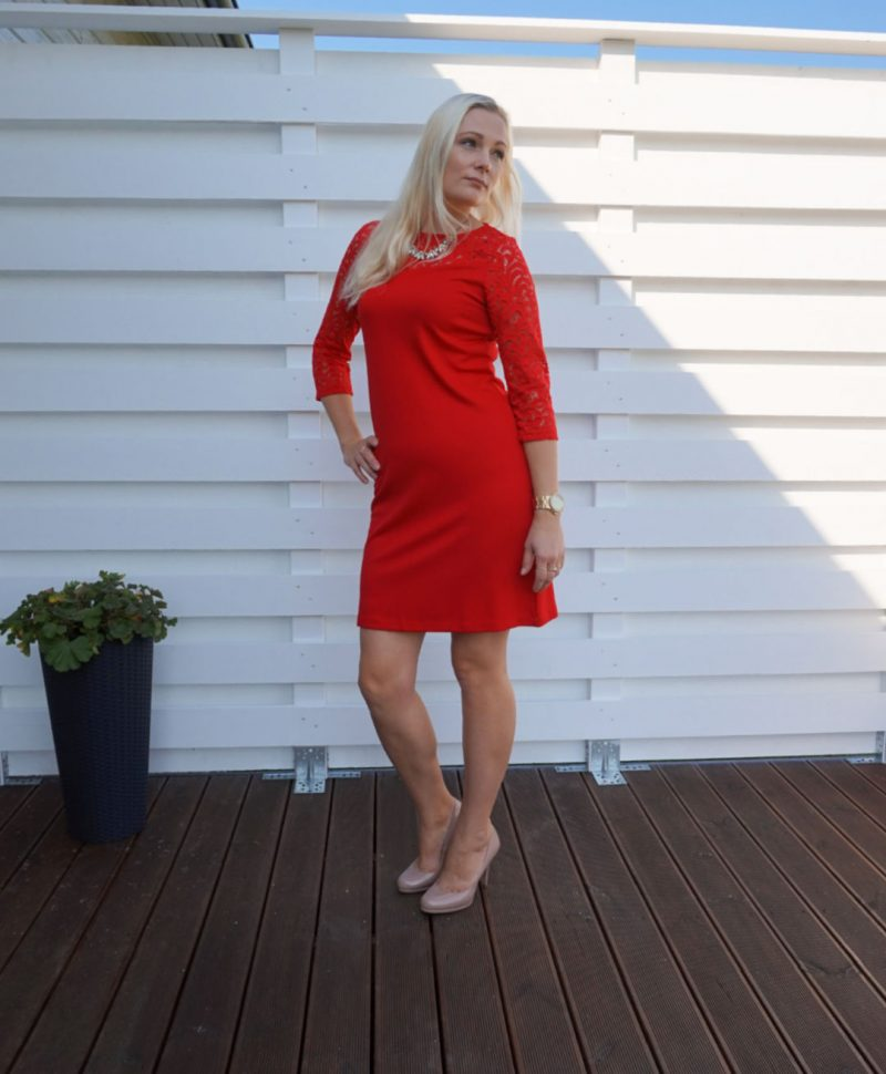 red dress with lace sleeves
