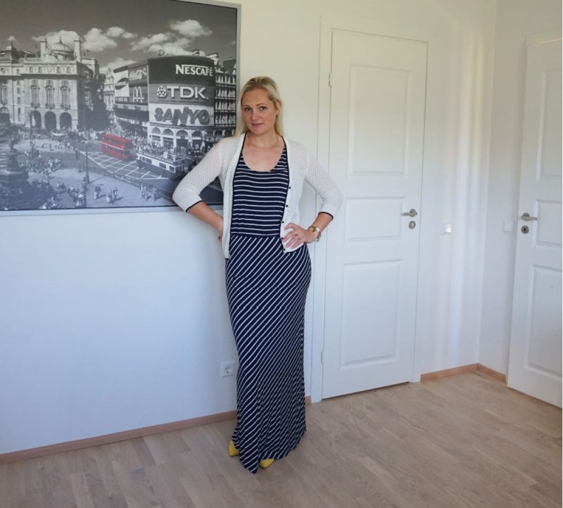 striped maxi dress and short white cardigan with buttons