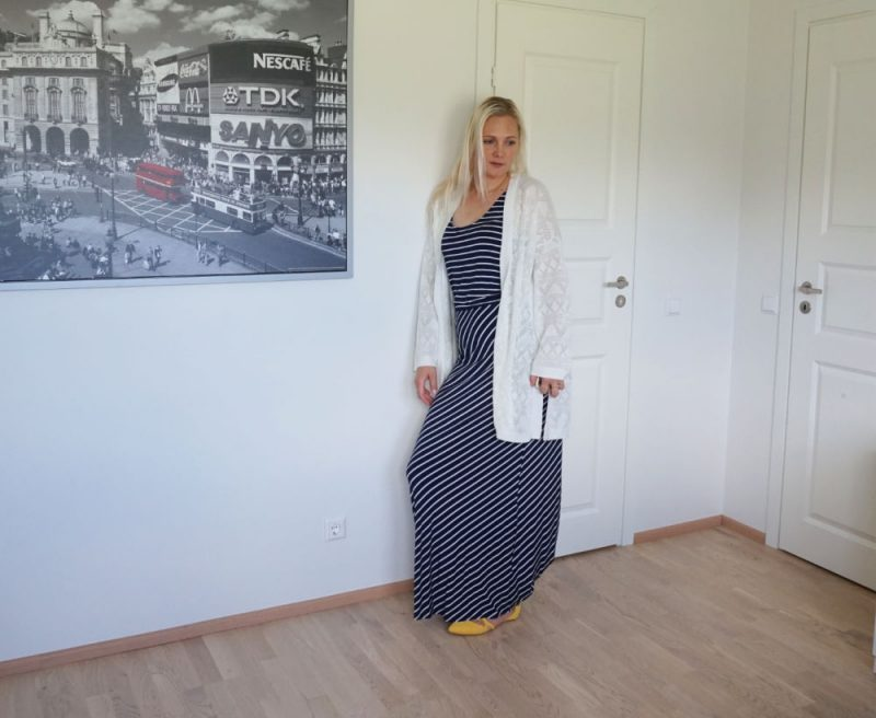 navy white striped dress and white slouchy cardigan outfit