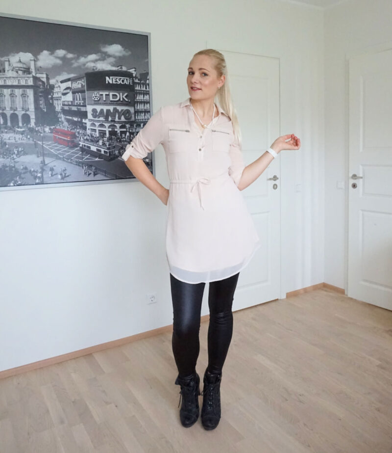 beige chiffon shirt dress black leggings