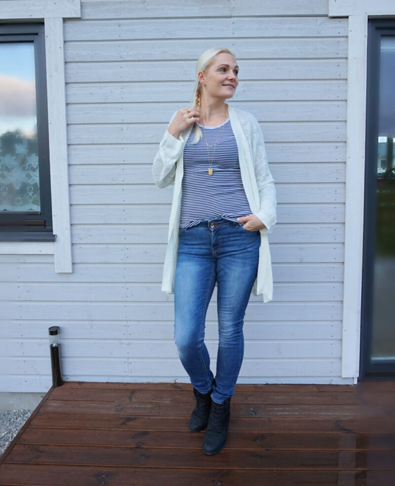 blue jeans white cardigan striped top outfit