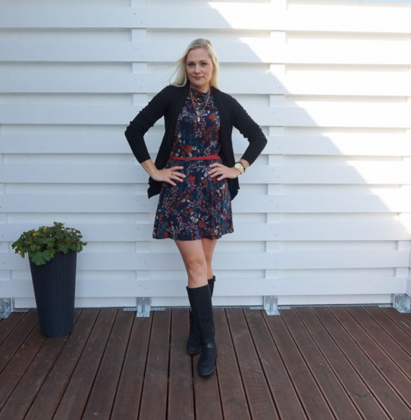 Lindex floral dress black cardigan black boots