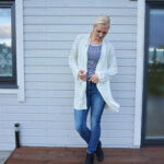 Blue jeans & striped top & white oversized cardigan
