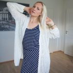 Striped maxi dress and white cardigan outfit + link up