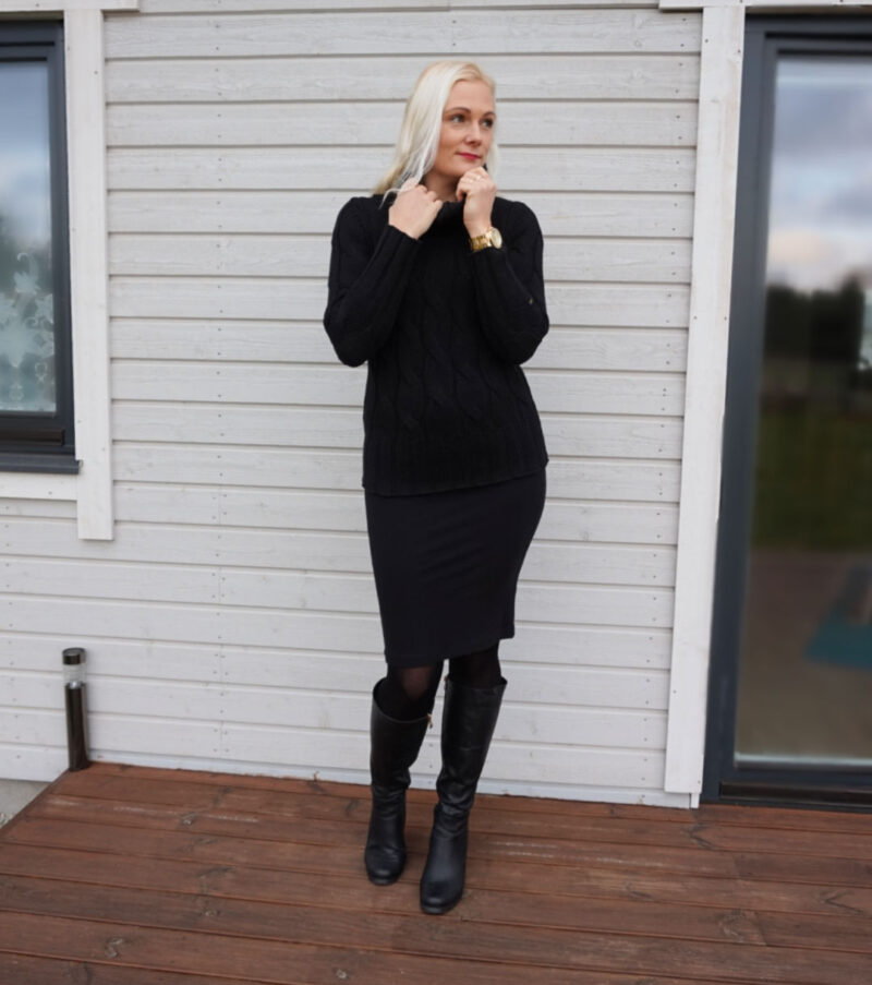 black high neck jumper and black pencil skirt outfit