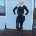 Black jumper dress and wet look leggings & weekly linkup