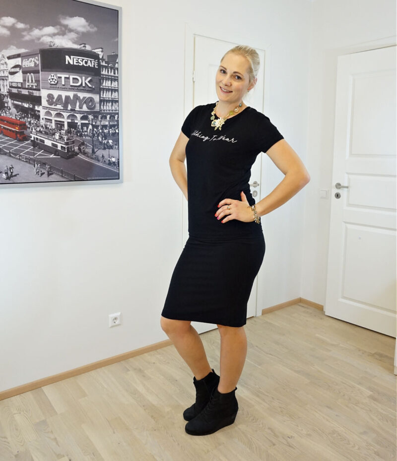 """black """"nothing to wear"""" t-shirt with black skirt"""
