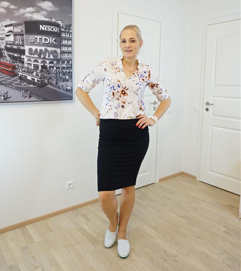 black skirt floral blouse