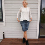 White lace detail top and denim skirt & weekly link up