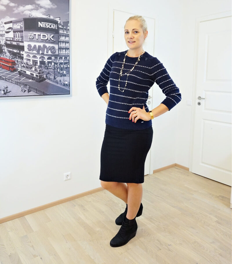 striped navy and white jumper with black pencil skirt