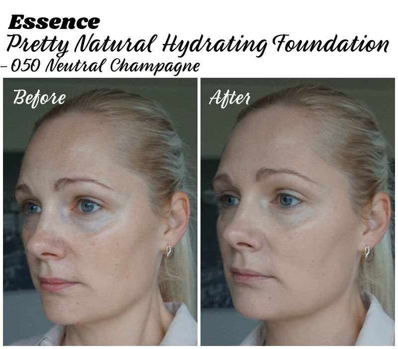 essence pretty natural hydrating foundation before after
