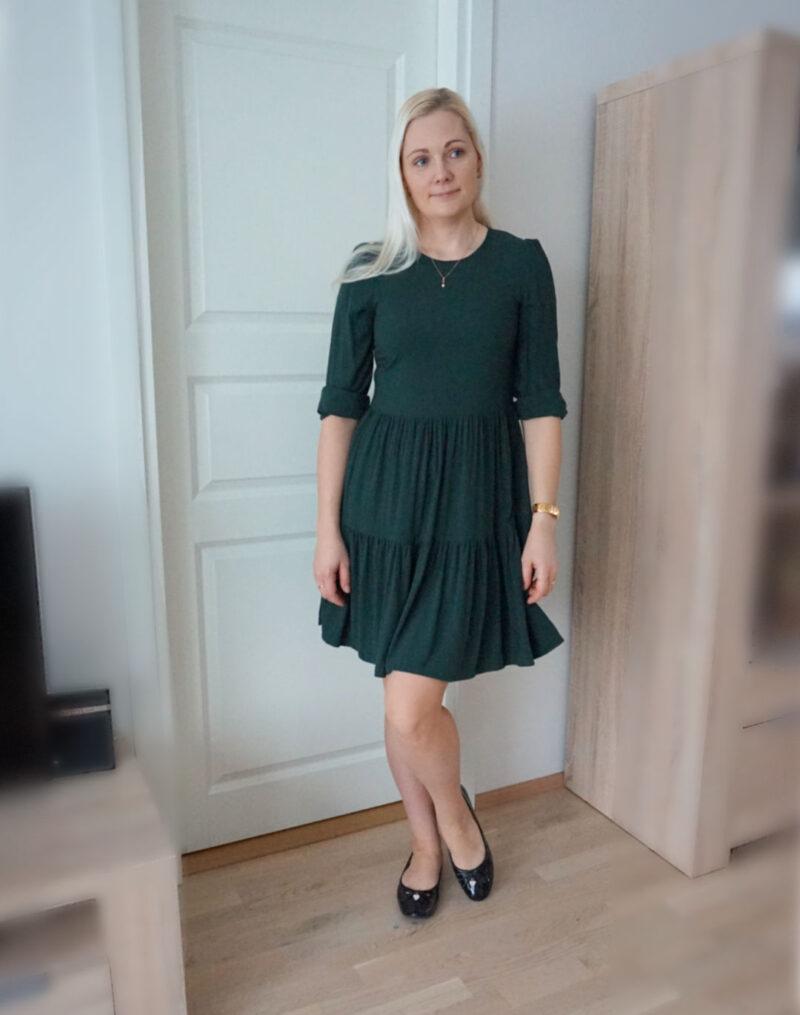 green dress black patent flats