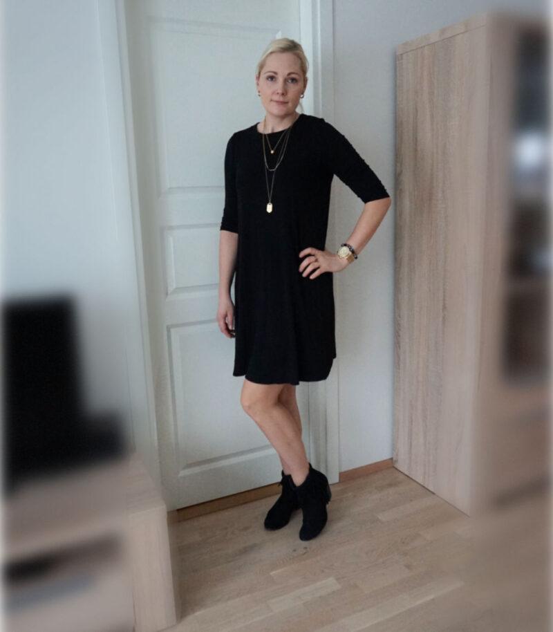 simple black a-line jersey dress