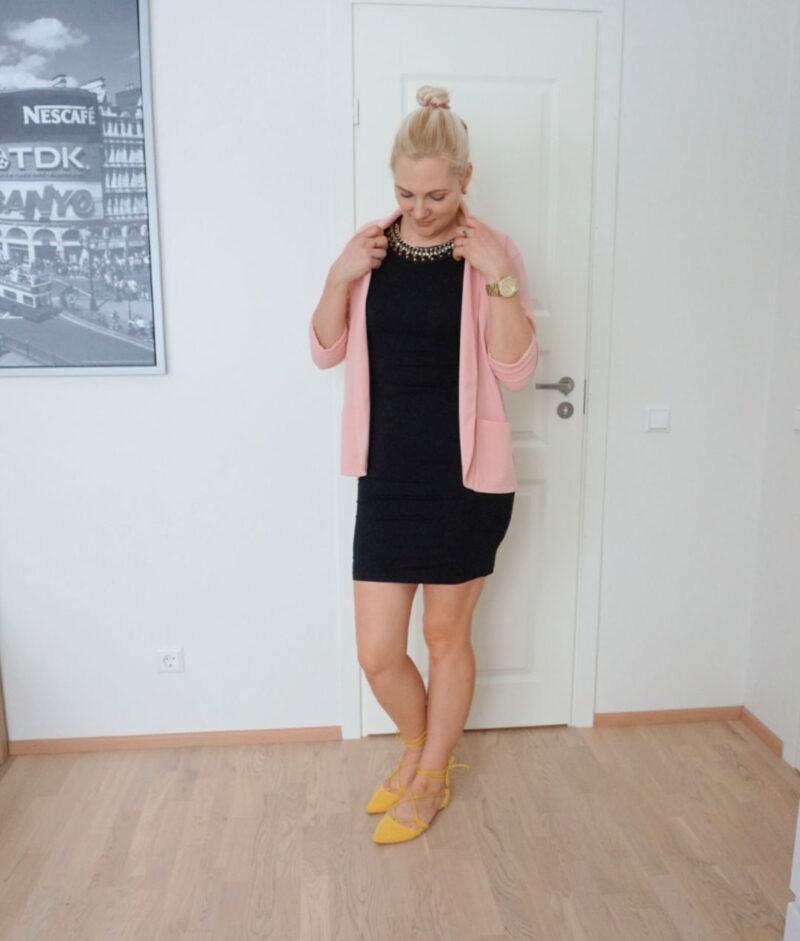 black dress pink jacket yellow lace-up flats