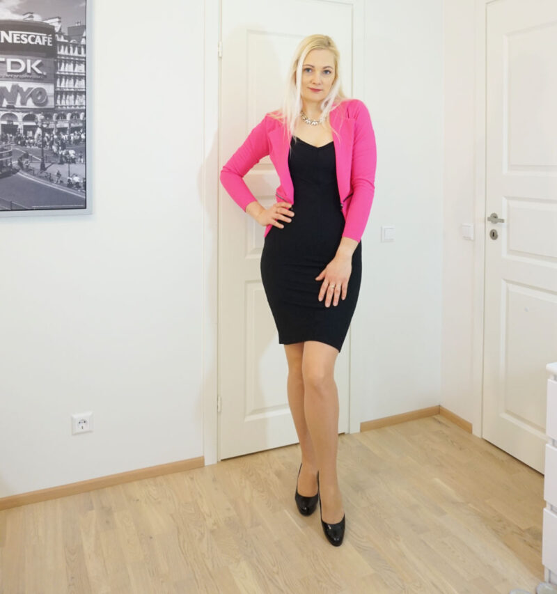 little black dress and bright pink jacket