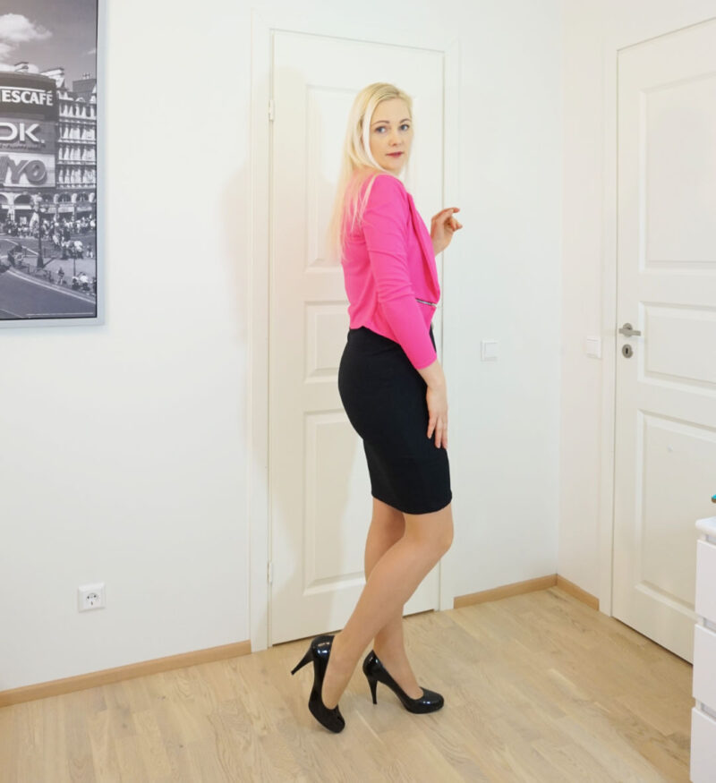 black bodycon dress with a pink jacket