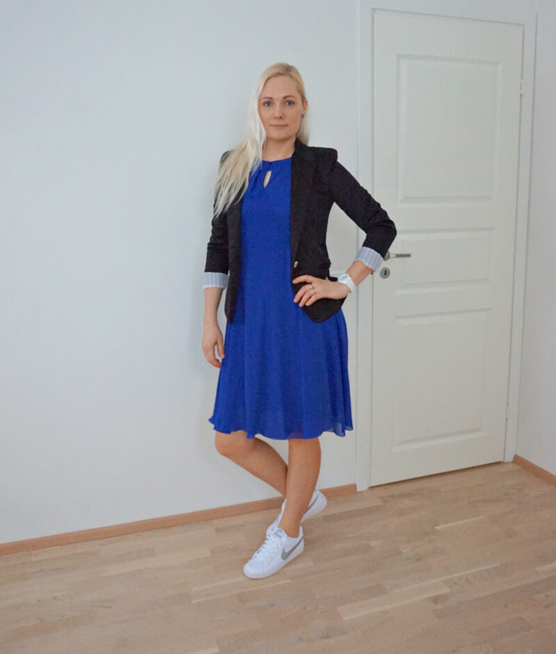 blue black and white outfit