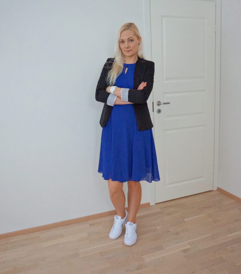 Blue dress black blazer white sneakers