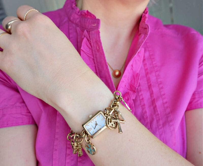 fossil cross charm watch esprit pink frill detail blouse