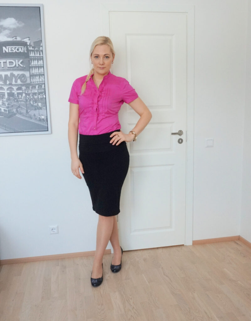 black knee-length pencil skirt and pink short-sleeved blouse