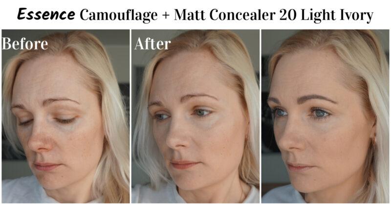 Essence Camouflage + Matt Concealer before after comparison