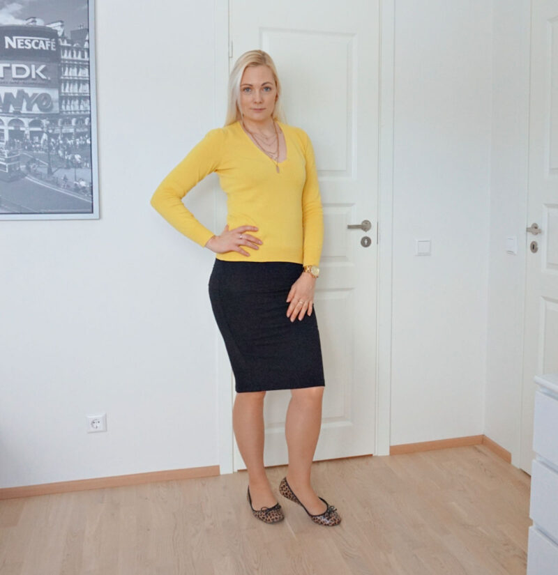 yellow and black outfit with leopard print flats