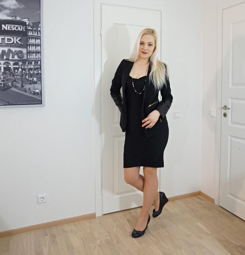 little black dress and black blazer