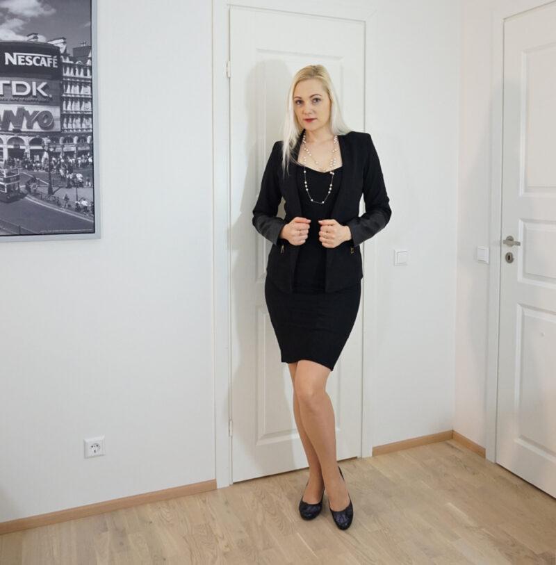 black bodycon dress with black blazer