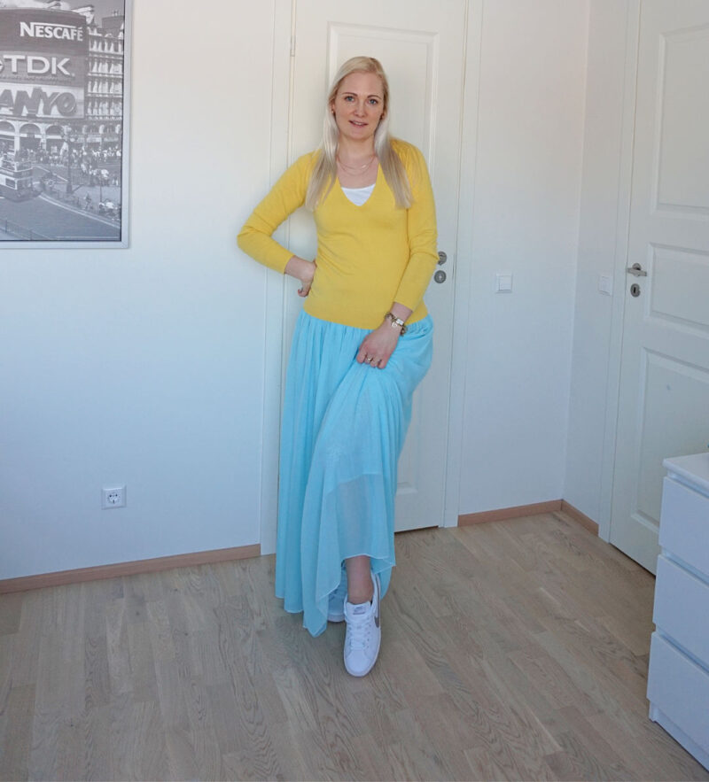 yellow and light blue outfit for spring 2021
