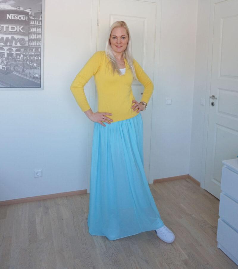 Esprit yellow sweater with light blue maxi skirt from Aliexpress