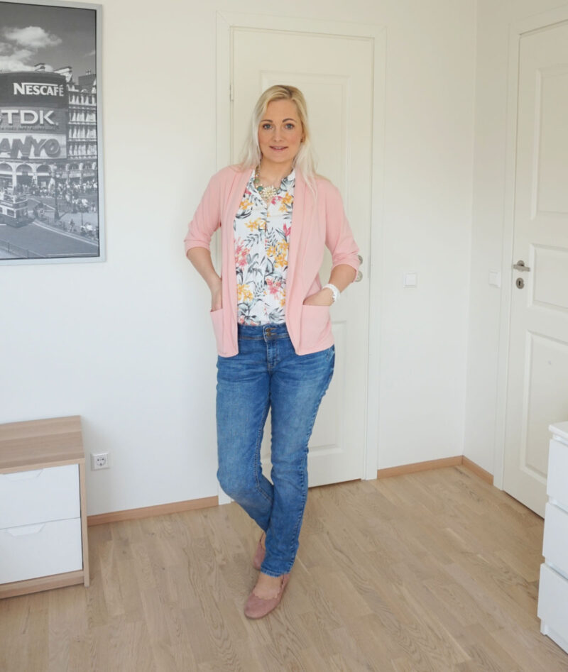 pink blue floral outfit