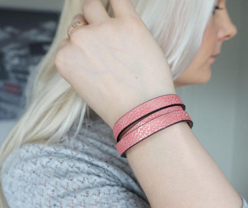 pink leather strap bracelet