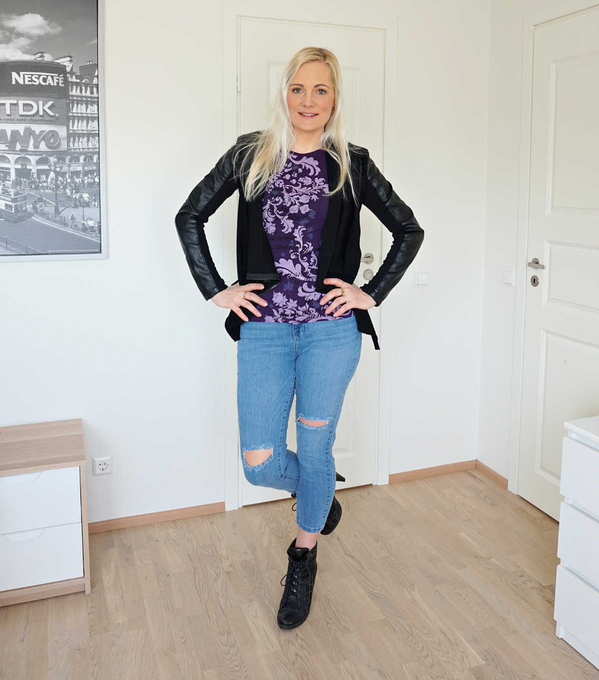 Shopping my closet outfit - Amisu t-shirt, Femme Luxe jeans, Blank Denim vegan leather jacket, Tamaris ankle boots