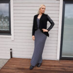 Striped Maxi Dress and Vegan Leather Jacket & weekly link-up #221