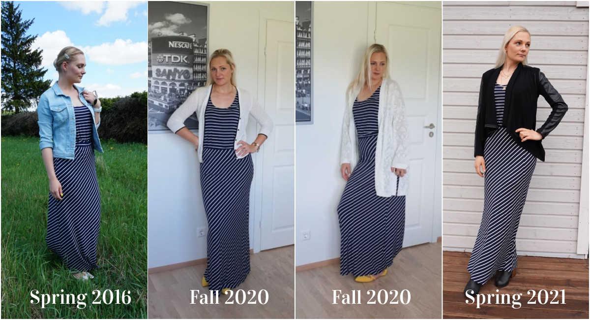 4 ways to wear striped maxi dress
