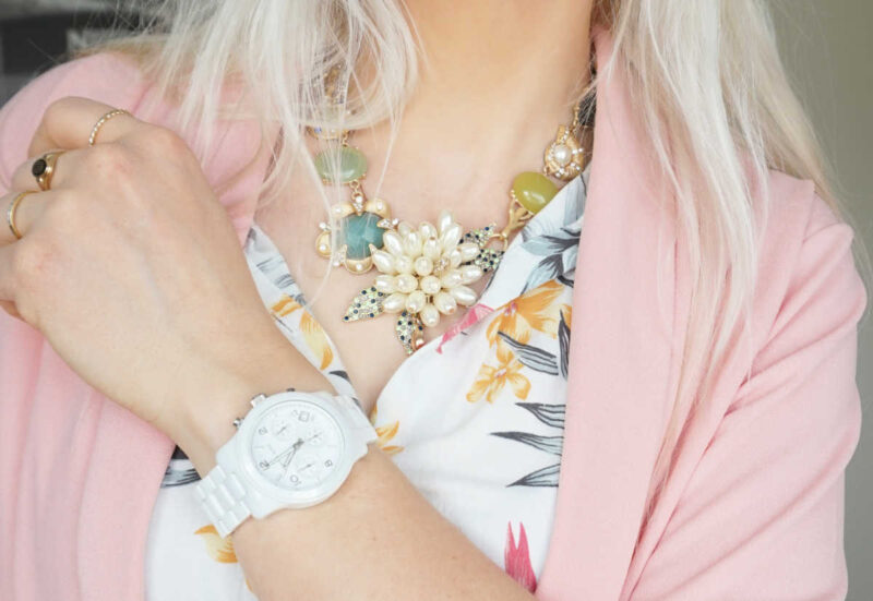 Happiness Boutique statement necklace Michael Kors watch
