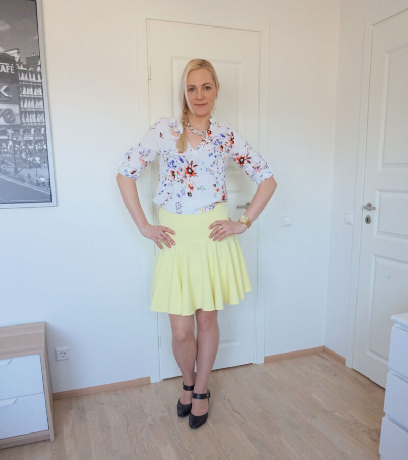 yellow skirt and floral blouse