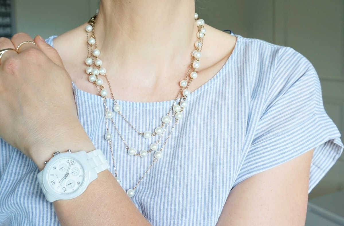 imitation pearl necklace. Michael Kors white ceramic watch