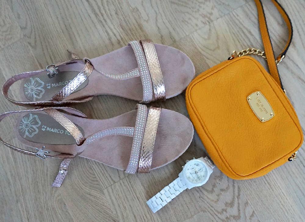 rose gold MArco Tozzi sandals, yellow Michael Kors crossbody bag, white Michael Kors watch
