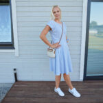 Fit and flare summer dress and trainers & Weekly LINK UP #232