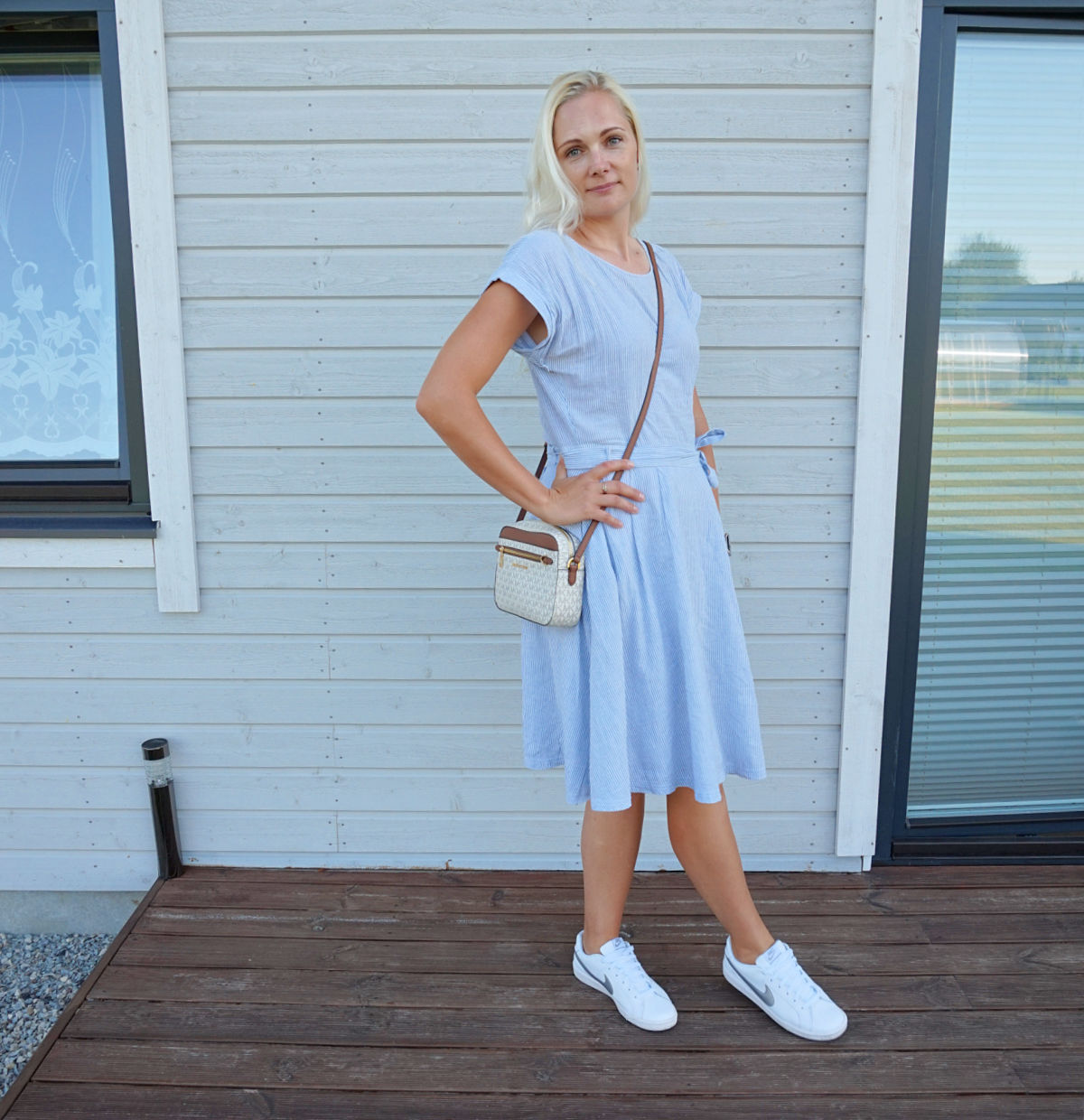 Esprit fit and flare summer dress, white Nike trainers and Michael Kors crossbody bag