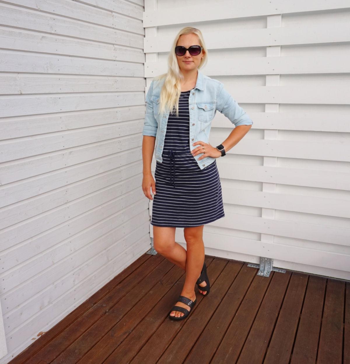 ONLY striped mini dress, ONLY denim jacket, Classic Crocs sandals
